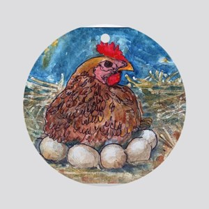 Family Nest, Chicken with eggs Ornament (Round)