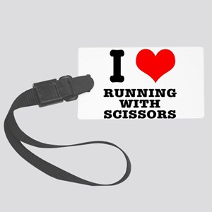 running with scissors Large Luggage Tag