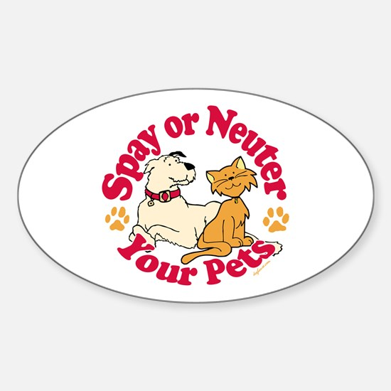 Spay/Neuter Circle (Pets) Oval Decal