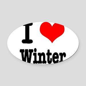 winter Oval Car Magnet