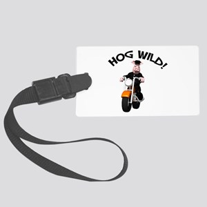 hog wild pig Large Luggage Tag