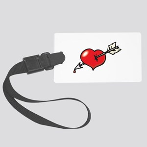 arrow through heart Large Luggage Tag