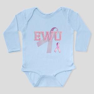 EWU initials, Pink Ribbon, Long Sleeve Infant Body