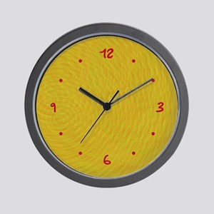 Textured Yellow/Red Wall Clock