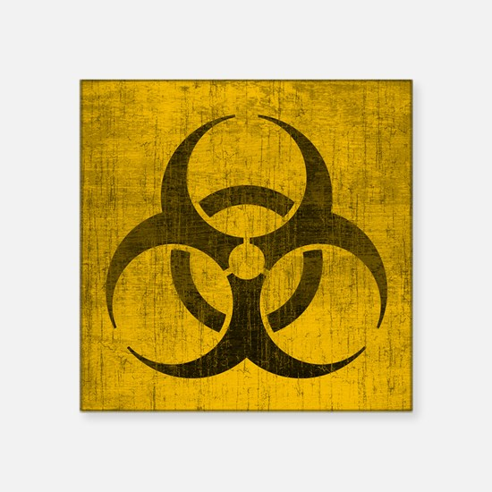 """Vintage Biohazard Square Sticker 3"""" x 3"""""""