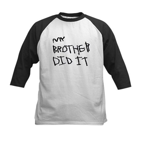 "Black ""My Brother Did It"" Kids Baseball Jersey"