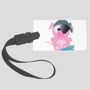 piggy pirate Large Luggage Tag