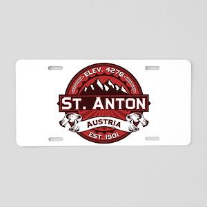 St. Anton Red Aluminum License Plate