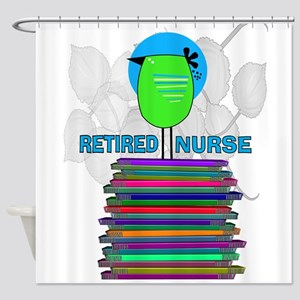 RETIRED NURSE BOOK BIRD GREEN Shower Curtain