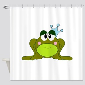 Frog Prince Blue Crown Shower Curtain