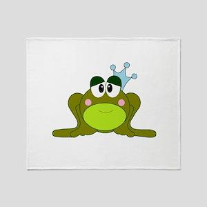 Frog Prince Blue Crown Throw Blanket