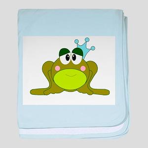 Frog Prince Blue Crown baby blanket