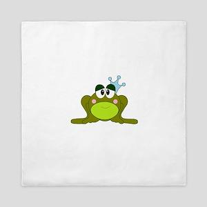 Frog Prince Blue Crown Queen Duvet
