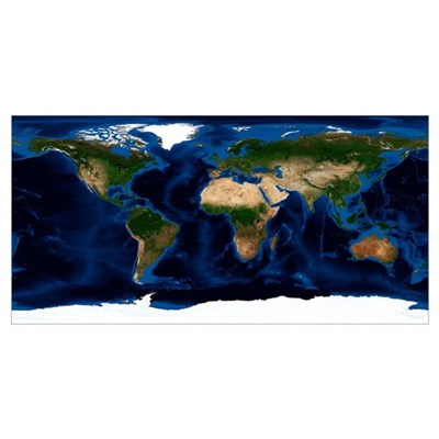 Earth, topographic and bathymetric map Poster