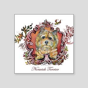 "Norwich Terrier Vintage Square Sticker 3"" x 3"""