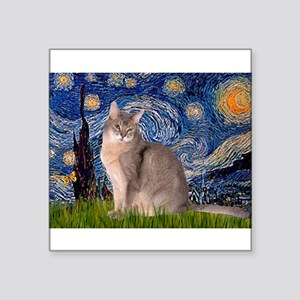 Starry / Blue Abbysinian cat Square Sticker 3&quot