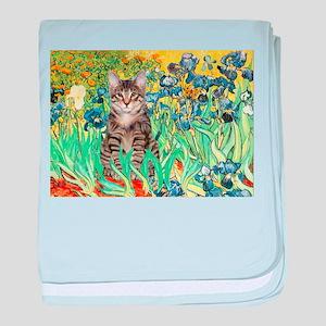 Irises / Tiger Cat baby blanket