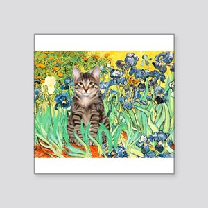 "Irises / Tiger Cat Square Sticker 3"" x 3"""
