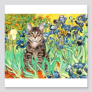 "Irises / Tiger Cat Square Car Magnet 3"" x 3"""