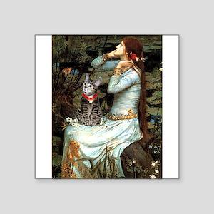 "Ophelia / Tiger Cat Square Sticker 3"" x 3"""