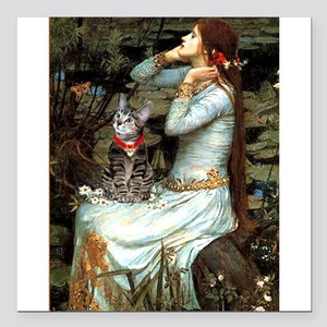 "Ophelia / Tiger Cat Square Car Magnet 3"" x 3"""
