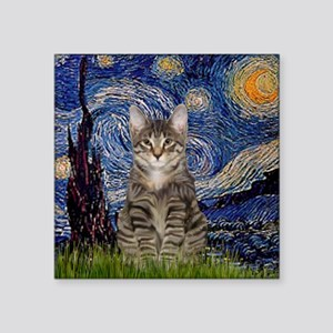 "Starry Night & Tiger Cat Square Sticker 3"" x 3"""