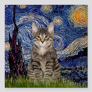 "Starry Night & Tiger Cat Square Car Magnet 3"" x 3"""