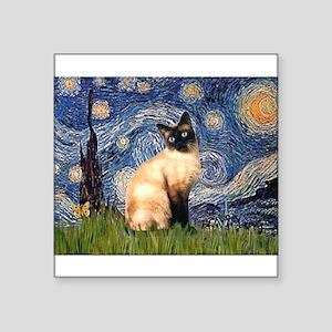 """TILE-Starry-Siamese1 Square Sticker 3"""" x 3"""""""