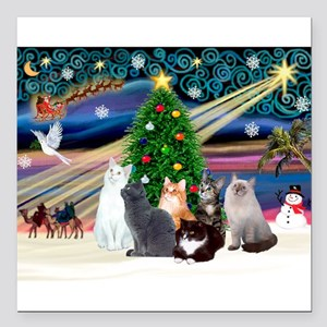 "Xmas Magic / Six Cats Square Car Magnet 3"" x 3"""