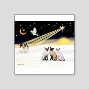 """XmasDove-3 Siamese cats Square Sticker 3"""" x 3"""""""