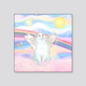 "Clouds / (White) Cat Square Sticker 3"" x 3"""