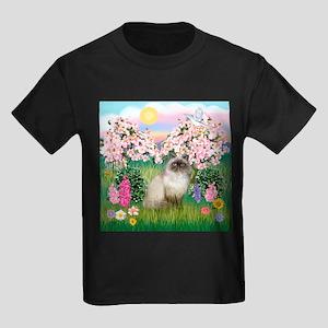 Blossoms & Himalayan cat Kids Dark T-Shirt