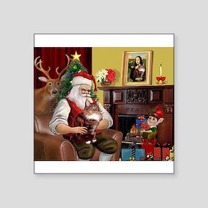 "card-Santa1-MCoon12B Square Sticker 3"" x 3"""