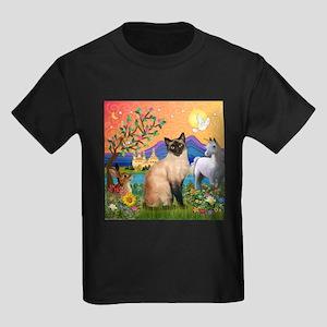 TILE-Fantasy-Siamese1 Kids Dark T-Shirt