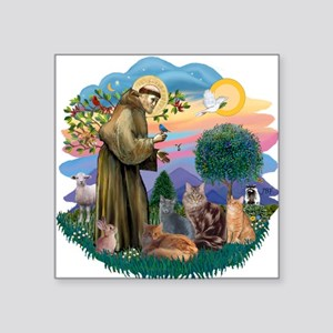 "St Francis / 4 Cats Square Sticker 3"" x 3"""
