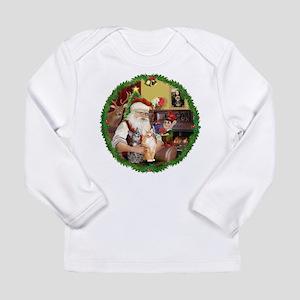 Santa's 2 Tabby Cats Long Sleeve Infant T-Shirt