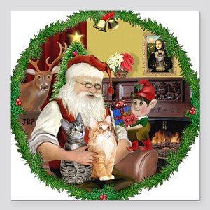 "Santa's 2 Tabby Cats Square Car Magnet 3"" x 3"""