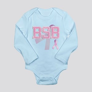 BSB initials, Pink Ribbon, Long Sleeve Infant Body