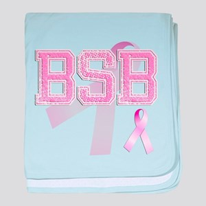 BSB initials, Pink Ribbon, baby blanket