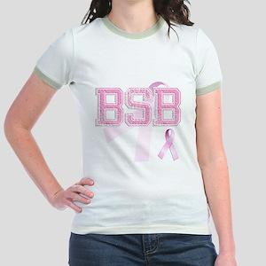 BSB initials, Pink Ribbon, Jr. Ringer T-Shirt