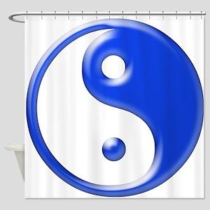 Blue Yin Yang Shower Curtain