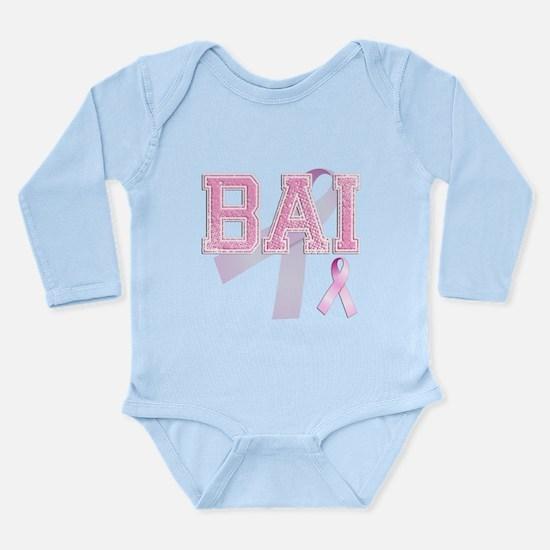 BAI initials, Pink Ribbon, Long Sleeve Infant Body