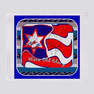 Wave Old Glory Throw Blankets