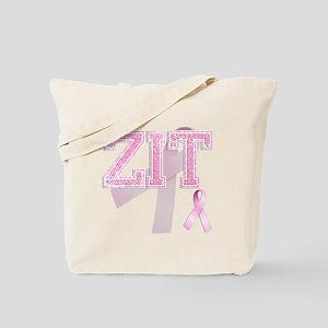 ZIT initials, Pink Ribbon, Tote Bag