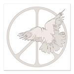 Peace Sign & Dove Square Car Magnet 3