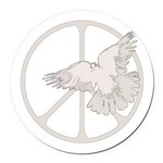 Peace Sign & Dove Round Car Magnet