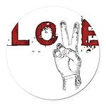 Love Peace V Round Car Magnet