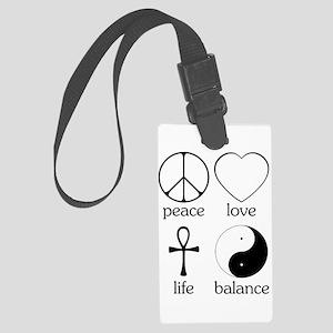 Peace Love Life Balance square II Large Luggag