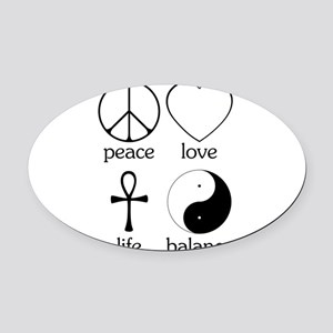 Peace Love Life Balance square II Oval Car Mag