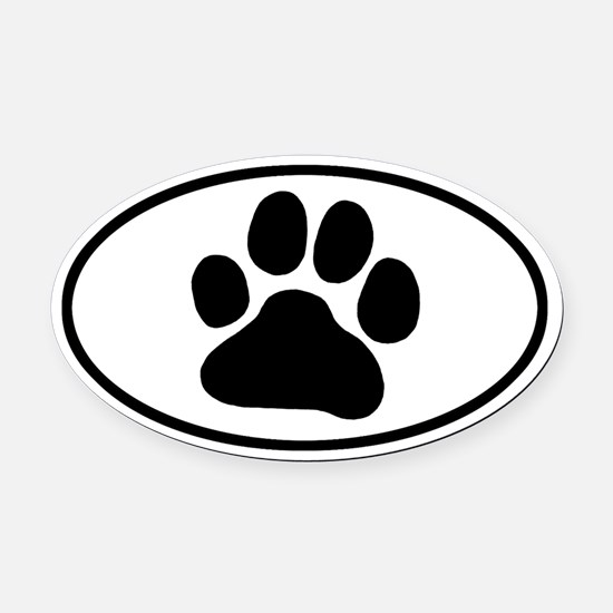 Paw Print Oval Car Magnet